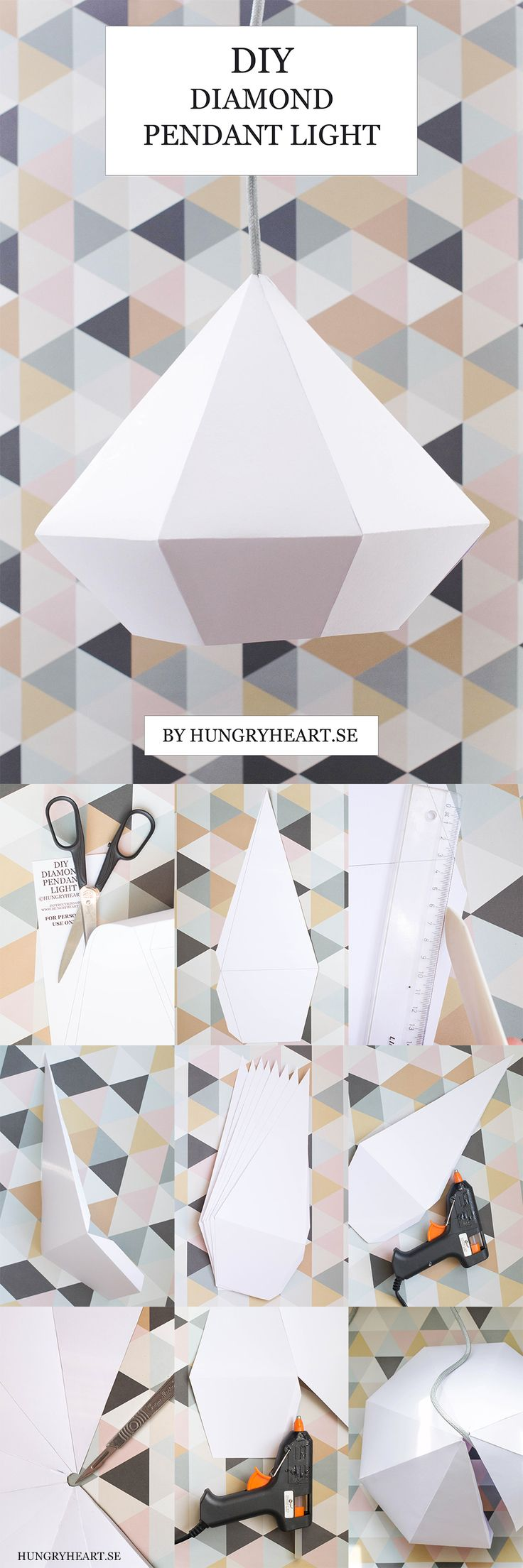 DIY Diamond Pendant Light w FREE Template | Hungry Heart
