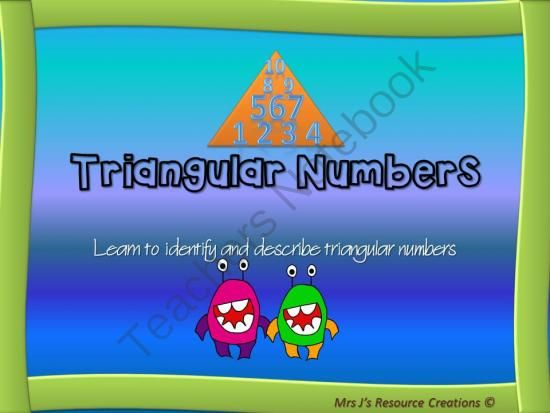 Triangular Numbers PPT, Lesson Plan + Printables Pack: Australian Curriculum Code ACMNA122 from Mrs J's Resource Creations on TeachersNotebook.com -  (25 pages)  - This Mini Pack aims to teach students about triangular numbers. The goal of the PowerPoint and Lesson is to enable students to identify and describe triangular numbers.   Australian Maths Curriculum Code: ACMNA122