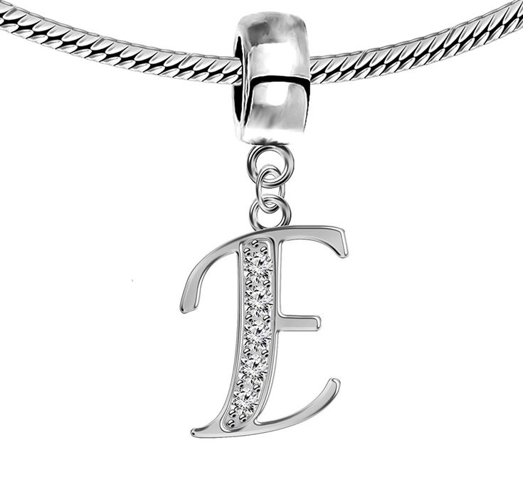 Silver Pandora Inspired Charm Initials with CZ Crystals -European Charms, beads - Fits all Pandora, Chamilia Charm Bracelets * Learn more by visiting the image link. #Charms