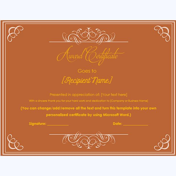 99 best Award Certificate Templates images on Pinterest - microsoft word award template
