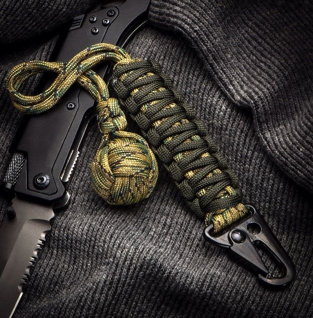 "Self Defense paracord keychain Multi Camo 1"" Chromed Ball Bearing Survival Self Defense"