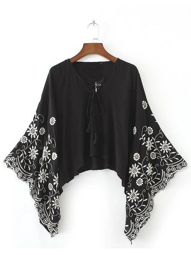 Shop Black Tasseled Lace Up V Neck Embroidered Batwing Top online. SheIn offers Black Tasseled Lace Up V Neck Embroidered Batwing Top & more to fit your fashionable needs.