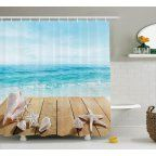Seashells Decor Shower Curtain Set, Wooden Boardwald With Seashells Resort Sunshine Vacations Maldives Deck Waves Beach Theme, Bathroom Accessories, 69W X 70L Inches, By Ambesonne