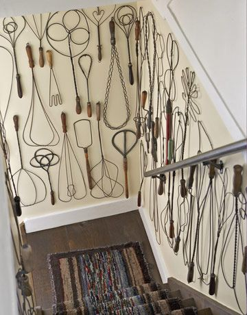 Vintage Rug Beaters. Tony Bill's collection of vintage rug beaters numbers about 80, and the walls of the staircase leading to the basement in a 1870 farm­house in Connecticut are a Calder-esque celebration of these fun, functional wire forms.