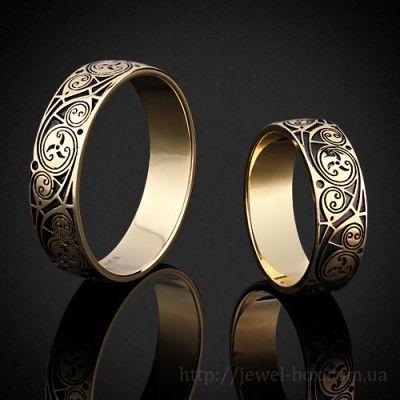 Обручальные кольца кельтские - желтого золота