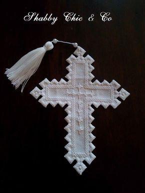 Broderie Hardanger- Croix blanche en coton Fait main : Textiles et tapis par shabbychicandco