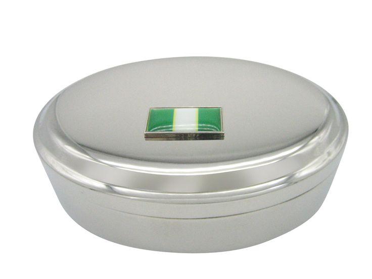 Thin Bordered Nigeria Flag Pendant Oval Trinket Jewelry Box