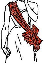 SASHES - The method of wearing sashes or light scarves had customary significance even two centuries ago, and although the wearing of sashes in any particular manner is of no legal significance whatsoever nowadays, ladies may feel more comfortable knowing that tradition is being observed!  (pin:  wearing a sash - style 1)