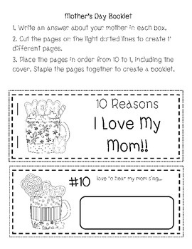 This quick file gives each student an opportunity to spotlight their mother on Mother's Day.  Students are able to write quick responses to 10 reas...