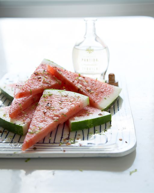 Tequila Soaked watermelon with Lime and Chili. Not really a cocktail, but how could this be bad?