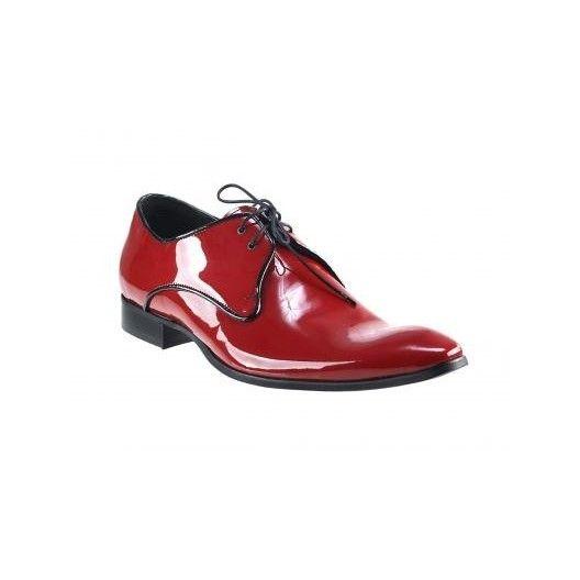 Pánske kožené spoločenské topánky lesklé červené PT151 - manozo.hu