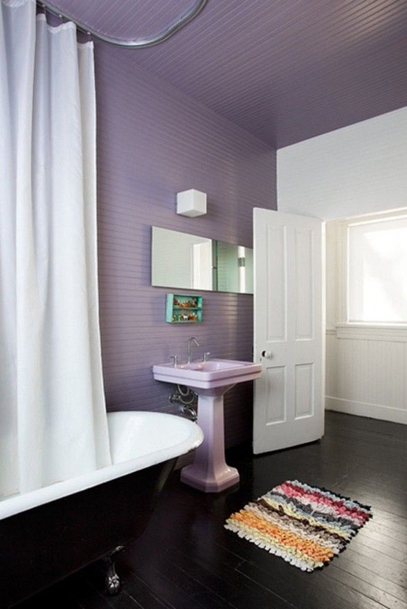 Web Photo Gallery white purple lavender color lovely bathroom interior design by Poteet Architects