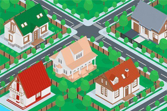 Isometric Combo Houses Map House Map Isometric Map City Maps