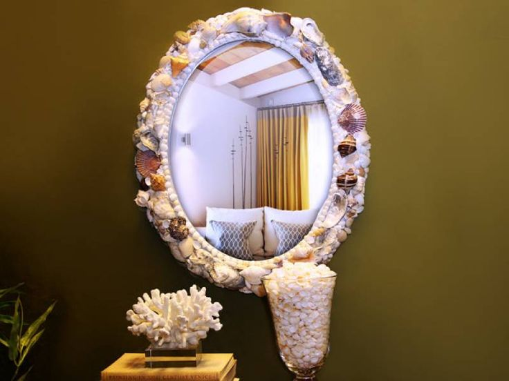 Морской декор зеркала ракушками