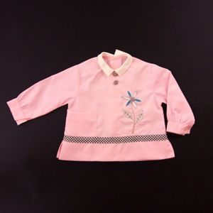 Image of Pink baby smock/ top. with blue and white Edelweiss shaped flower embroidery age 1