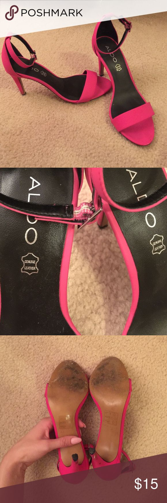 ALDO heels Super cute fun pink Aldo heel.  Worn a few times, sole is genuine leather the rest is synthetic.  Heel is 3 inches Aldo Shoes Heels