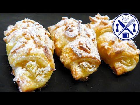 Croissants doces de massa folhada com amêndoa e gila em 30 minutos - YouTube