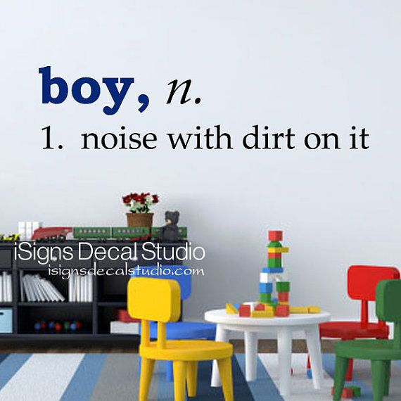 BOY DEFINITION - Boy Noise With Dirt on It - Boys room decal, playroom vinyl wall decal sticker on Etsy, $21.26