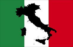 Flag of Italy with black map Stock Image