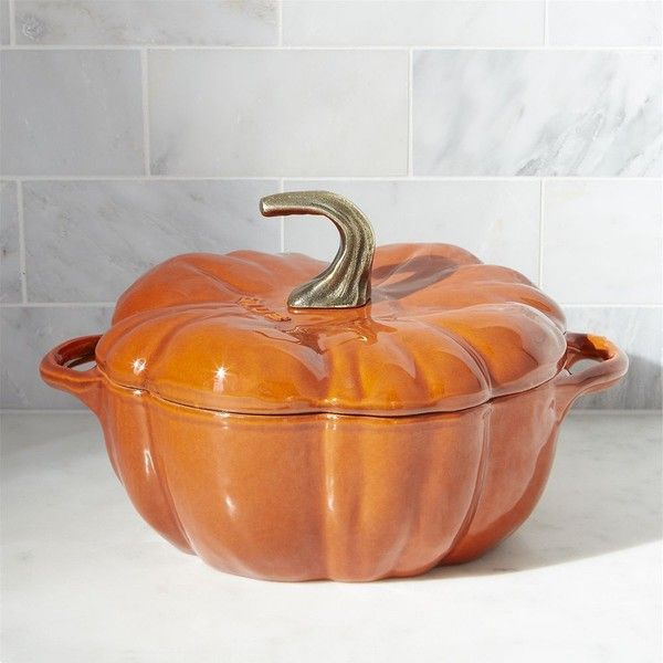 Crate & Barrel Staub ® 3.5-qt Enamel Cast Iron Pumpkin Cocotte ($180) ❤ liked on Polyvore featuring home, kitchen & dining, cookware, enamel cast iron pot, enameled cast iron cookware and crate and barrel