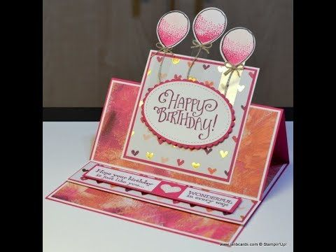 cardmaking video tutorial  Balloons Easel Card  ... Jan B show how to create this fancy fold card ...