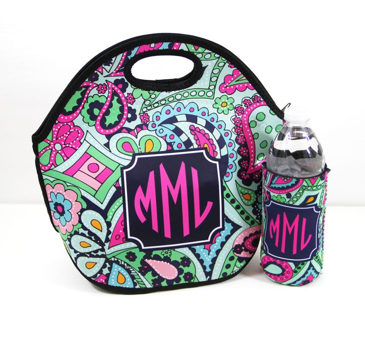 Back To School Monogrammed Lunch Tote & Water Bottle Sleeve Insulated Lunch Bag And Water Bottle Insulator Lunch Box Personalized Custom by ChicMonogram on Etsy