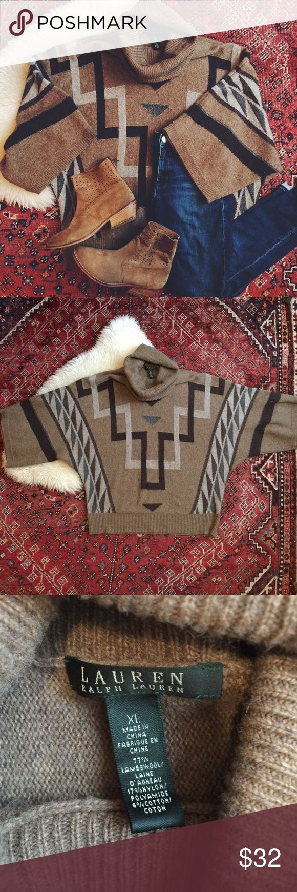 Vintage 90s Ralph Lauren Western Sweater Amazing dolman sleeve sweater in geometric western boho pattern. Softest lambswool means not scratchy!  Turtleneck collar to keep you warm!  Good vintage condition with some pilling, but no holes or stains. Sized XL but would totally work on a range of sizes as an oversized poncho style.     Boots also for sale, check my listings for other boho and great vintage finds! Lauren Ralph Lauren Sweaters