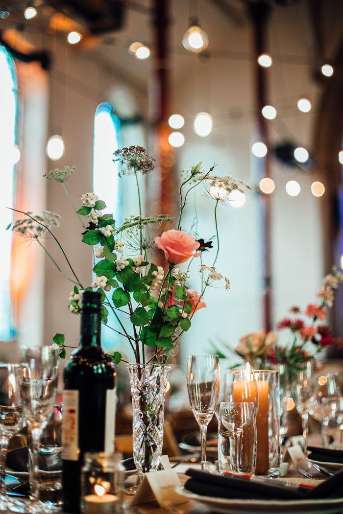 Elegantly Eclectic Uk Wedding At The Spire Brighton Junebug Weddings Wedding Reception Photography Cheap Wedding Table Centerpieces Eclectic Wedding