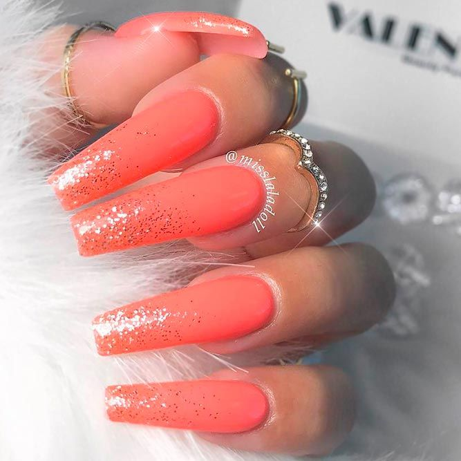 peach colored nails ideas