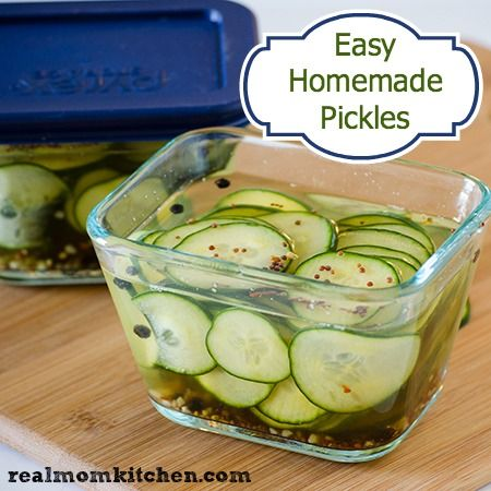 Easy Homemade Pickles - Real Mom Kitchen (eliminate the sugar to clean the recipe)