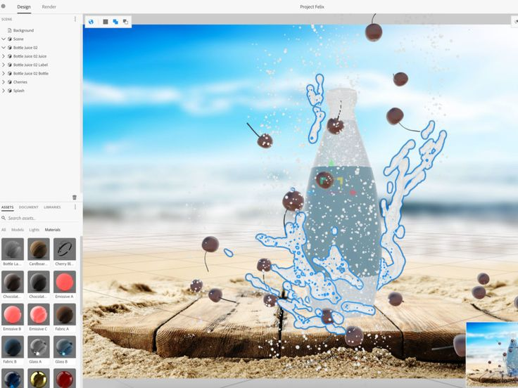 Adobe's Project Felix Uses AI to Help You Craft Hyper-Realistic 3-D Renderings | Machine learning algorithms power Felix, and let designers quickly turn stock images into photorealistic scenes. With the Cherry Blast ad, Felix automatically laid a grid over the beach landscape. When Corazza added a plastic bottle to the exposed patch of boardwalk, Felix knew exactly where a bottle that size should sit. | Credit: Adobe | From Wired.com
