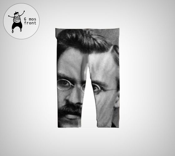 German philosopher Friedrich Nietzsche on comfy baby leggings. Expose your baby to culture no matter where she crawls.