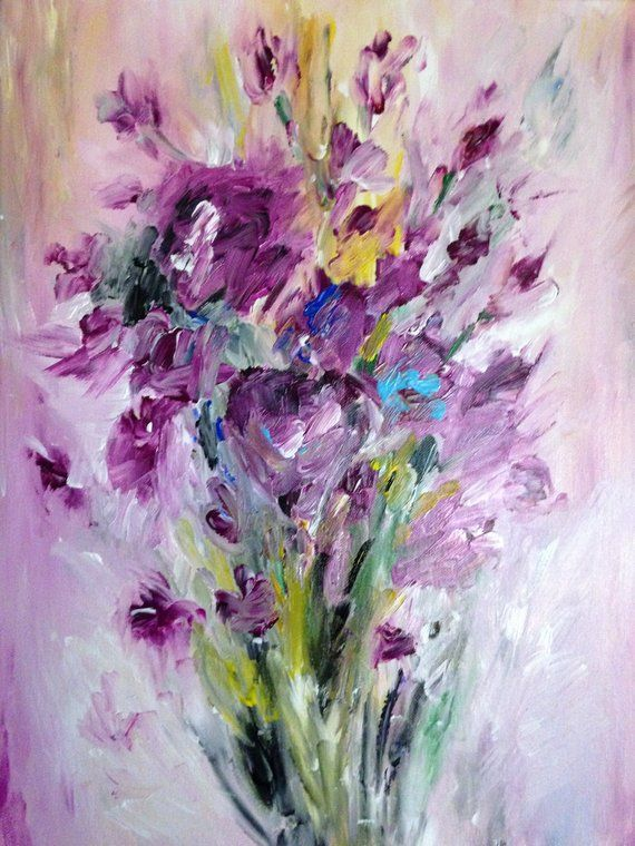 Pink And Purple Flowers Handmade Painting On 16x20 Stretched Canvas Painting Pink And Purple Flowers Flower Painting