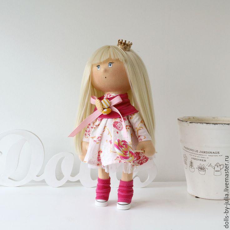 Купить Sweet Candy Princess - розовый, белый, желтый, текстильная кукла, интерьерная кукла