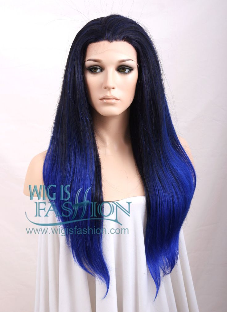 24 Quot Long Straight Black With Blue Ombre Lace Front