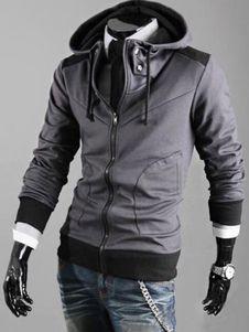 Cremallera con capucha chaqueta de Jersey con capucha hombres Slim Fit en negro/gris/Burdeos