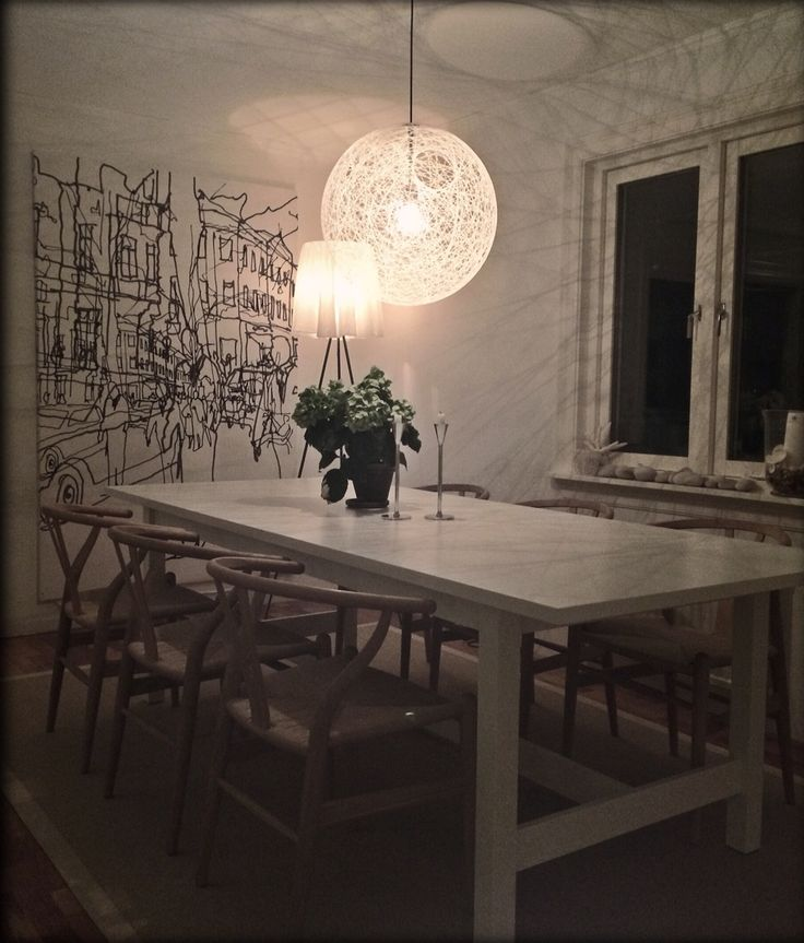Y chair and IKEA table Norden under the light of Mooi Random light