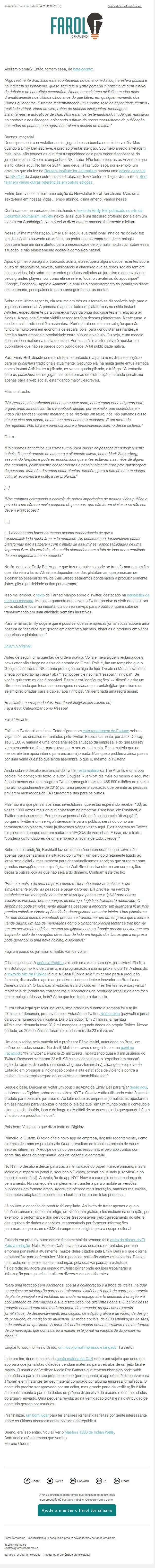 Newsletter Farol Jornalismo