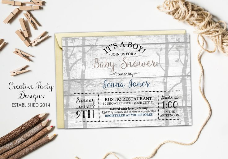 Rustic Baby Shower Invitation, Rustic Baby Shower Invite, Rustic Baby Shower Invitation Boy, Rustic Wood Invitation, Boy Baby, Printable by CreativePartyDesigns on Etsy