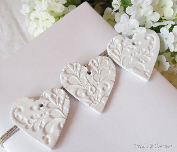 Three Embossed Petite Heart Clay Tags - Gift Tags Decoration