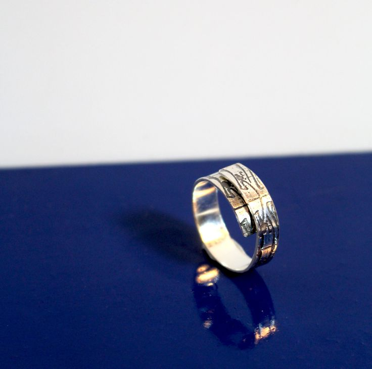 Adjustable sterling silver abstract etched mini wrap ring - handmade by MojoSteph on Etsy