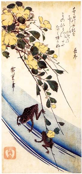 Ando Hiroshige >> Frogs under Yellow Rose  |  (Oil, artwork, reproduction, copy, painting).
