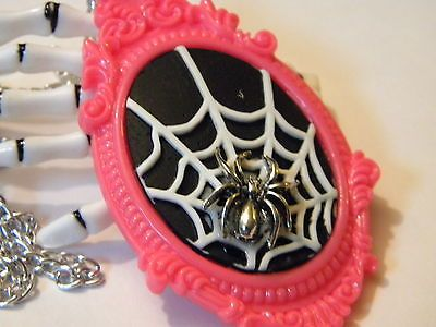 Hot Pink Spider Web necklace Gothabilly Steampunk  Halloween