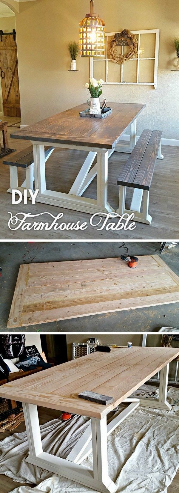 23 Easy DIY Farmhouse Table Ideas with Plans and Instructions
