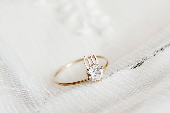 Gold Dainty Rabbit ring/bunny ring/stocking stuffer/clear Swarovski Ring/gift under 15/gift for girlfriend/gift for her/teen girl gifts