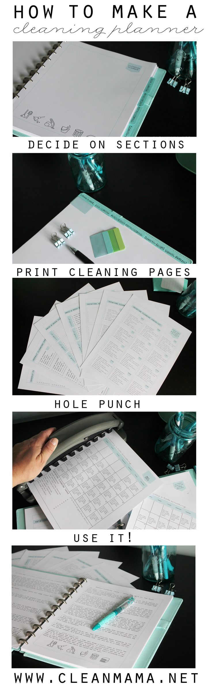 Make your own cleaning planner to finally stay on top of the daily, weekly and monthly cleaning. Full of practical tips and tricks!
