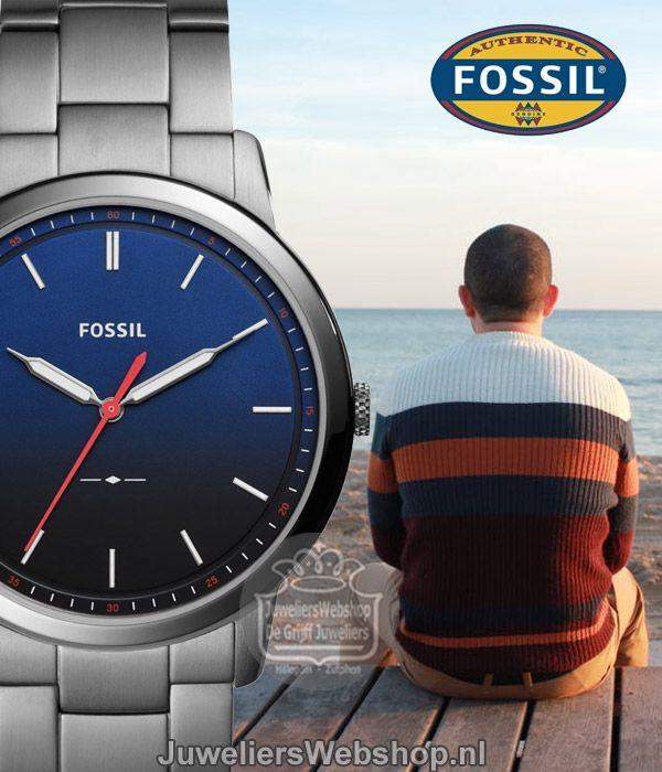 Fossil FS5377 The Minimalist Herenhorloge Staal Grijs met Blauwe Wijzerplaat. #fossil #horloges #herenhorloge #style #watch #minimalist #newarrivals #2017 #juwelierswebshop