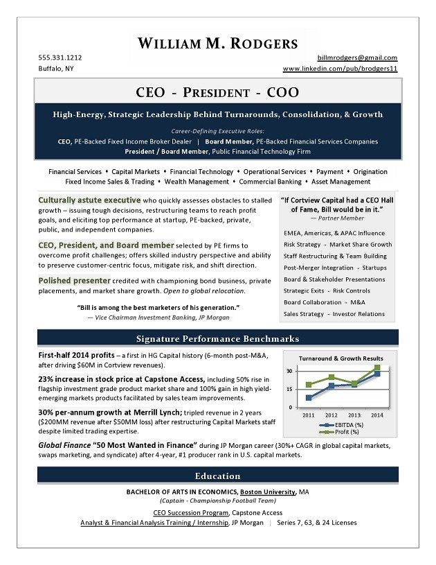 Ceo President And Coo Resume Sample Page 1 Executive Resume Resume Writing Services Resume Writer
