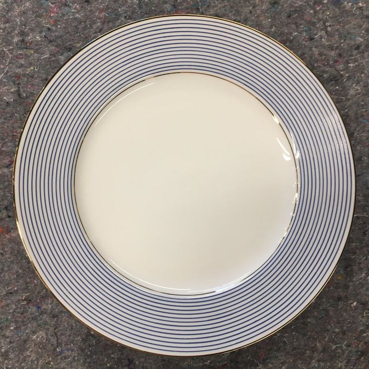 "Pottery Barn ""Blue Striped Rim"" New Traditions Dinner Plate"