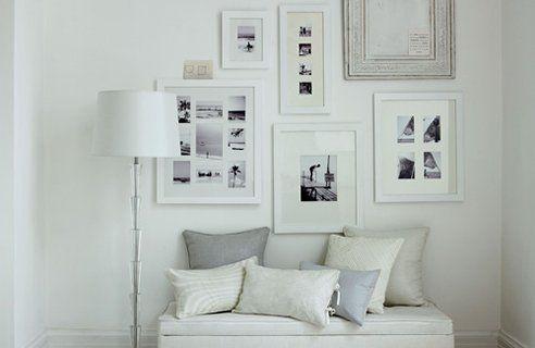 Blog wnętrzarski - design, nowoczesne projekty wnętrz: Białe ramki na białych ścianach - oryginalny trend w ozdabianiu wnętrz obrazkami - blog wnętrza